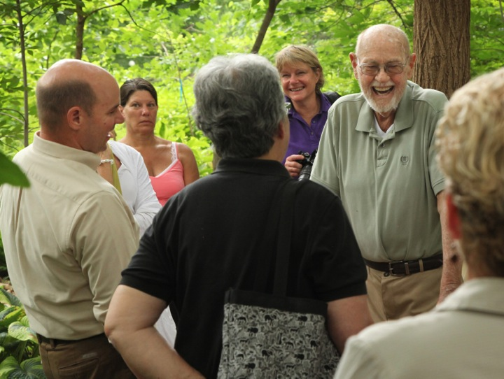 Ralph Archer (the namesake for Whitehall's Woodland Garden) chatting with Richie Steffen and JCMGA members